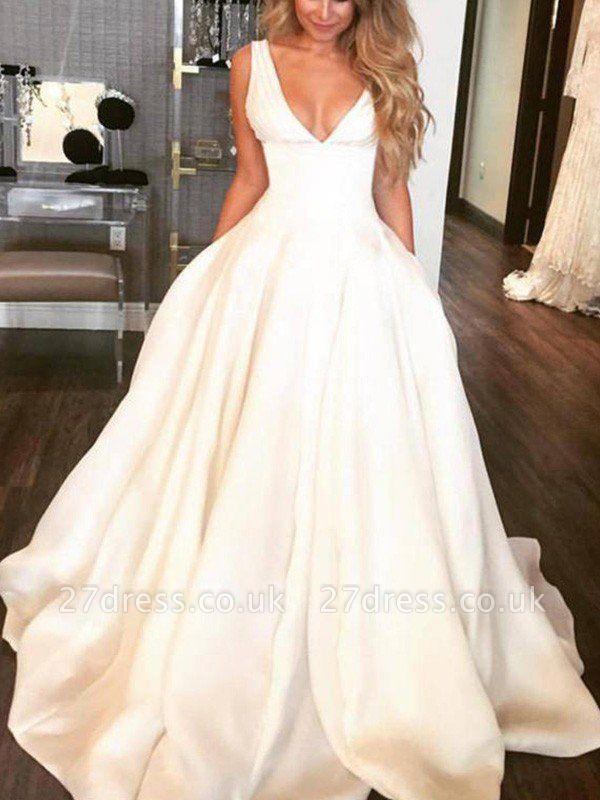 Sweep Train Ruffles Satin Sleeveless V-neck A-Lines Wedding Dresses UK