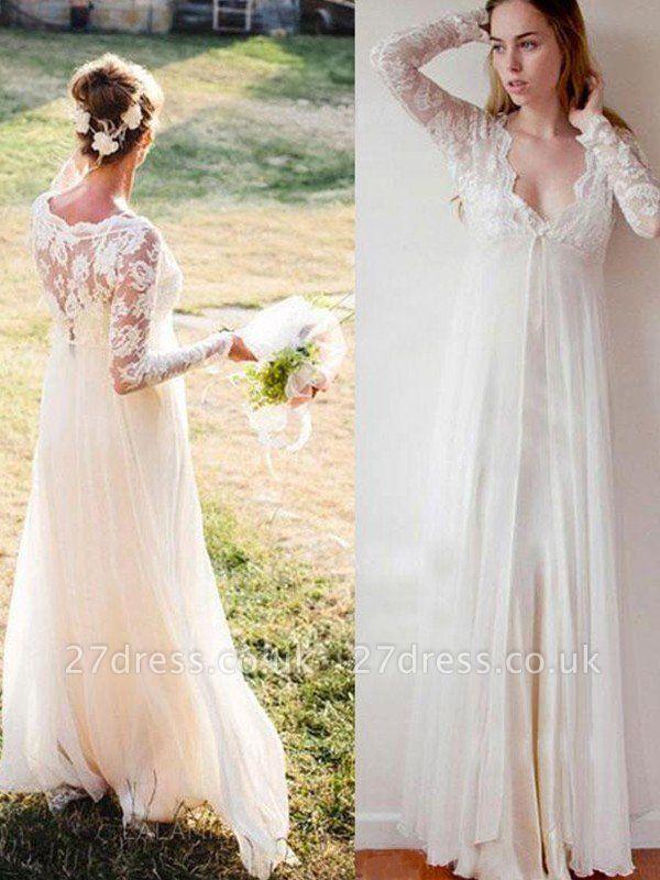 Empire Lace Floor-Length V-neck Long Sleeves Wedding Dresses UK