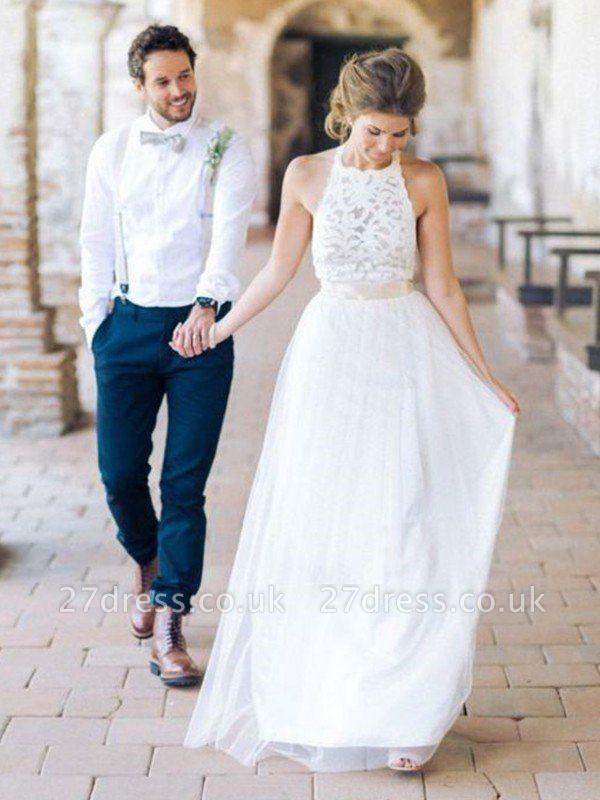 Floor-Length A-Line Ribbon Halter Tulle Sleeveless Wedding Dresses UK
