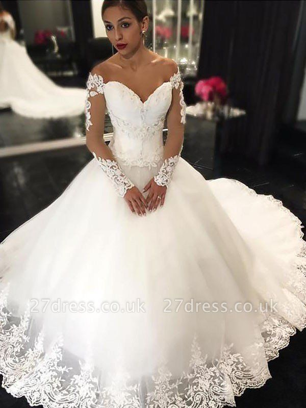 Off-the-Shoulder Ball Gown Tulle Cheap Court Train Applique Sleeveless Wedding Dresses UK