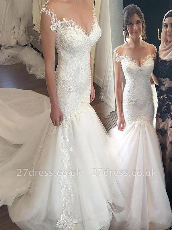 Off-the-Shoulder  Sexy Mermaid Sleeveless Lace  Tulle Cheap Wedding Dresses UK