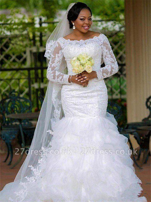 Square Sexy Mermaid  Organza Long Sleeves Applique Wedding Dresses UK
