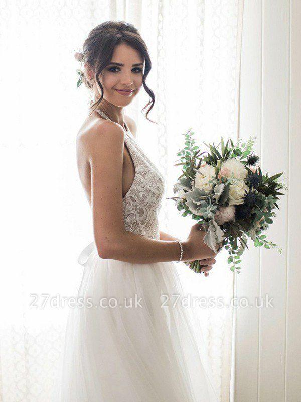 A-Line Lace Sleeveless Tulle Cheap Floor-Length Halter Wedding Dresses UK