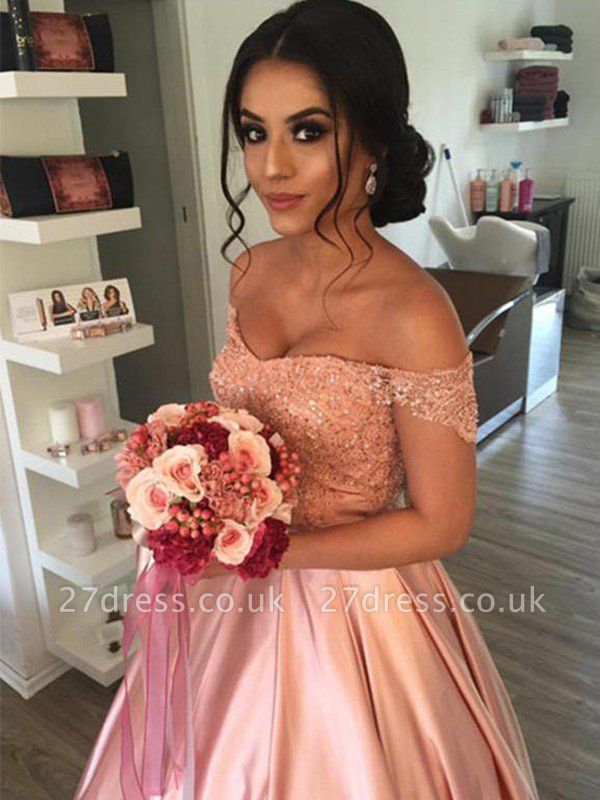 Satin Off-the-Shoulder Ball Gown Cathedral Train Sleeveless Ruffles Wedding Dresses UK