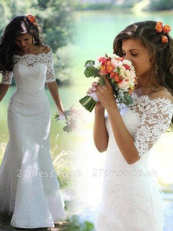 1/2 Sleeves Lace Off-the-Shoulder  Sexy Mermaid Sweep Train Wedding Dresses UK