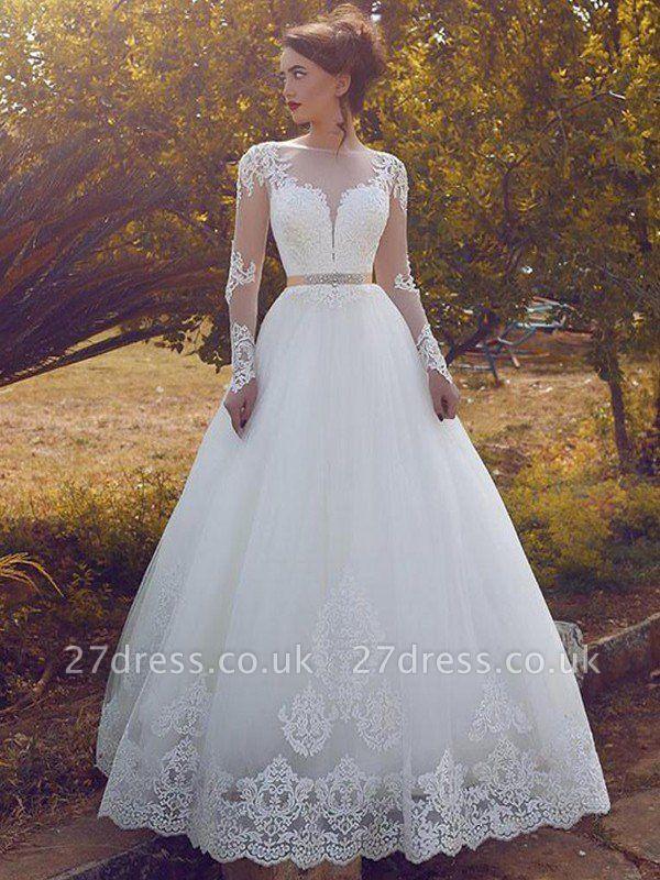 Tulle Cheap Floor-Length Ball Gown Long Sleeves Bateau Wedding Dresses UK