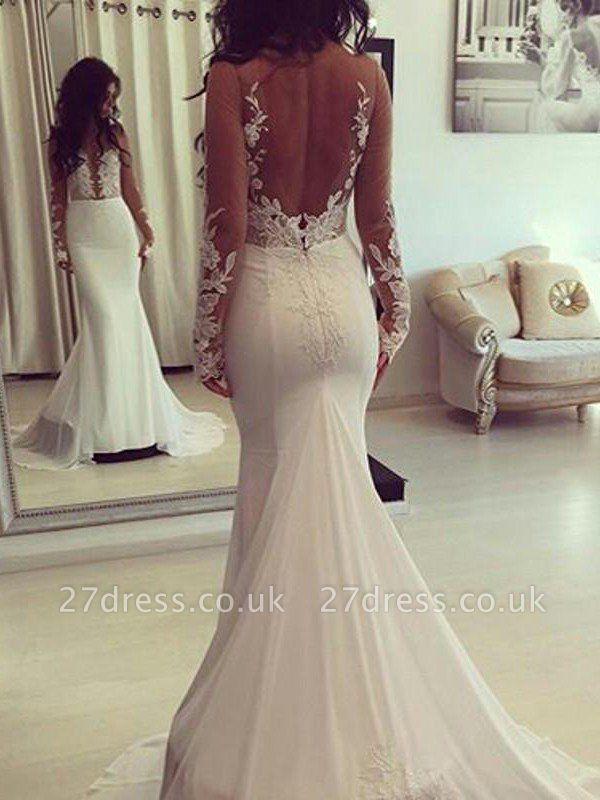 Scoop Neckline  Sexy Mermaid Court Train Satin Long Sleeves Wedding Dresses UK