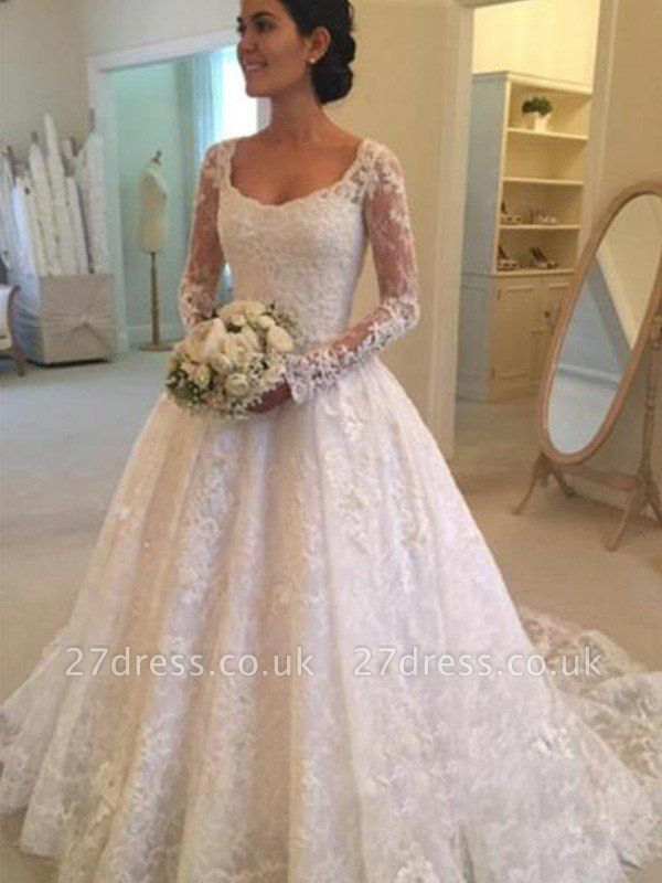 Ruffles Ball Gown Scoop Neckline Cathedral Train Lace Long Sleeves Wedding Dresses UK