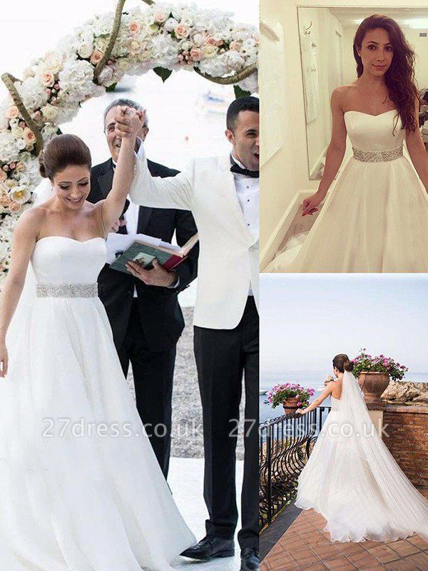 Sleeveless A-Line Sweep Train Sweetheart Tulle Beads Wedding Dresses UK