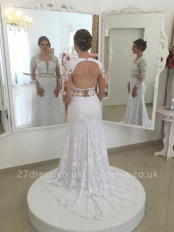 Sheath Scoop Neckline Lace Sweep Train Long Sleeves Wedding Dresses UK