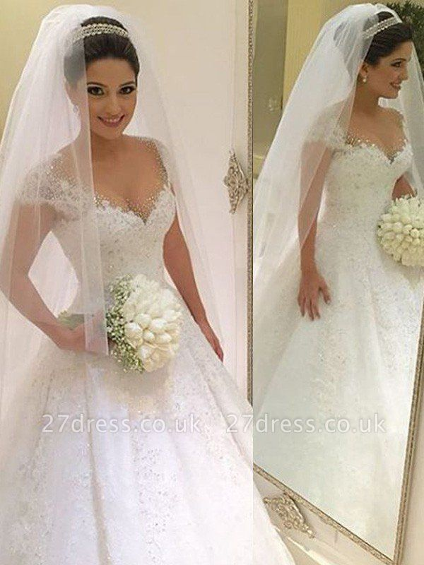 Floor-Length Tulle Cheap Sleeveless V-neck Beads Ball Gown Wedding Dresses UK