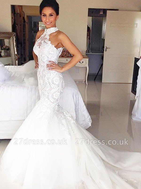 Court Train Sleeveless  Sexy Mermaid Tulle Cheap Halter Wedding Dresses UK