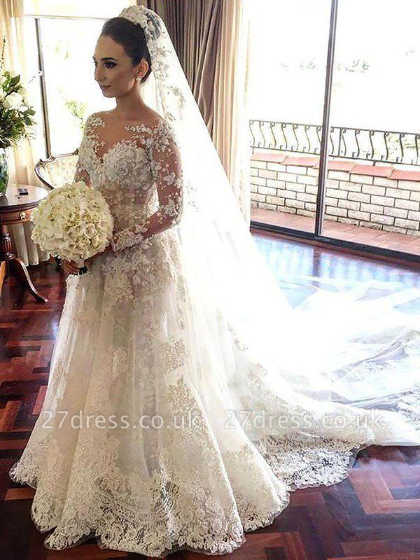 Bateau Tulle Cheap A-Line Lace Long Sleeves  Wedding Dresses UK