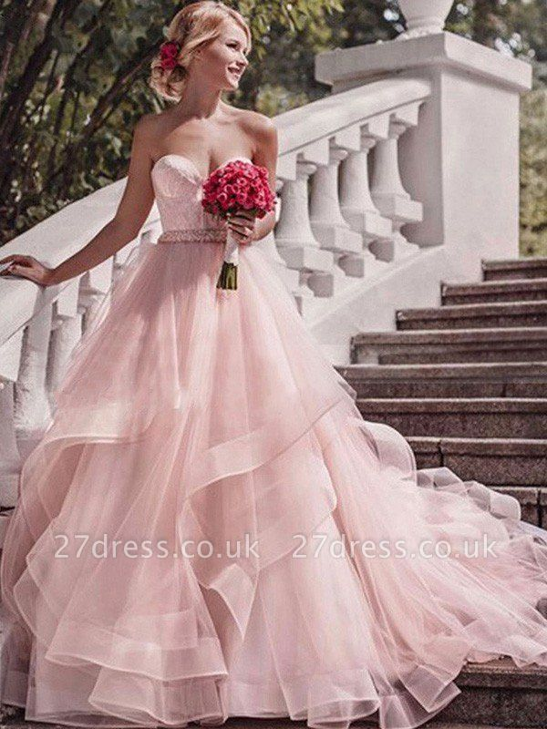 Court Train Layers Ball Gown Sleeveless Organza Sweetheart Wedding Dresses UK