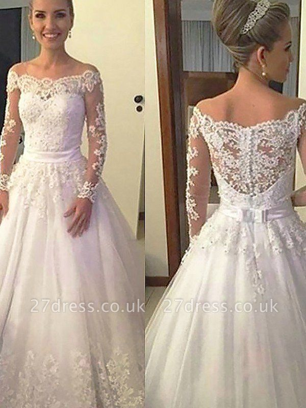 Off-the-Shoulder Court Train Ball Gown Lace Tulle Long Sleeves Wedding Dresses UK