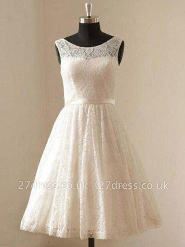 Knee-Length A-Line Sleeveless Scoop Neckline Ribbon Lace Wedding Dresses UK