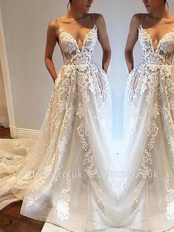 Tulle Cheap Sleeveless A-Line Court Train Spaghetti Straps Wedding Dresses UK