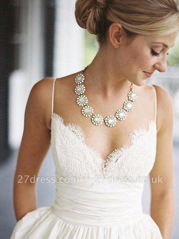 Sweep Train Ruched A-Line Satin  V-Neck Sleeveless Wedding Dresses UK