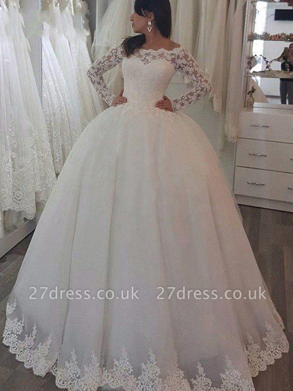 Sweep Train Applique Ball Gown Off-the-Shoulder Lace Long Sleeves Wedding Dresses UK
