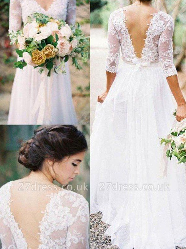 Lace   V-Neck Floor-Length 1/2 Sleeves Applique A-Line Wedding Dresses UK