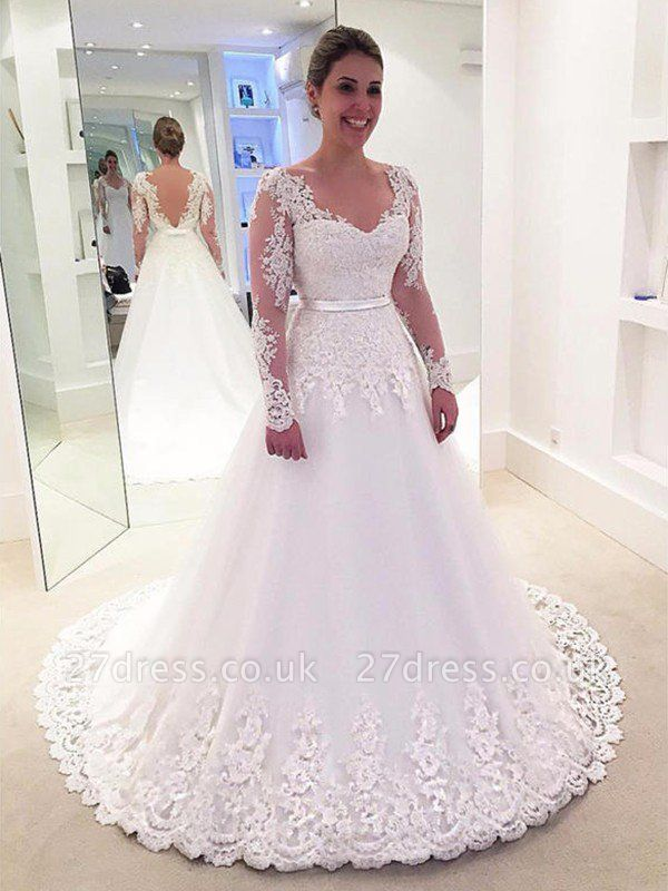 Tulle A-Line Applique Long Sleeves Lace  V-Neck Sweep Train Wedding Dresses UK