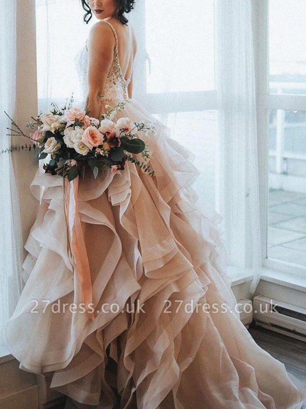 Lace Organza A-Line Sleeveless Sweep Train Sweetheart Ruffles Wedding Dresses UK