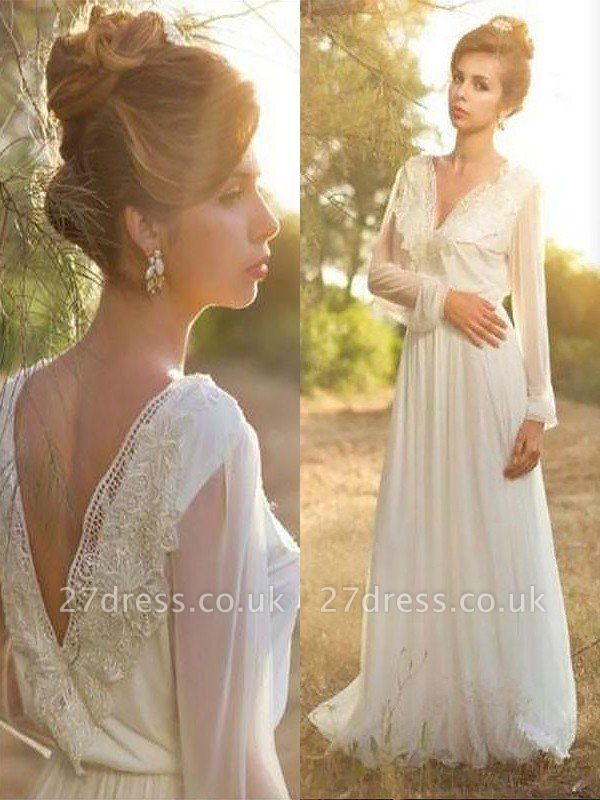 A-Line Long Sleeves V-neck Lace Sweep Train Wedding Dresses UK