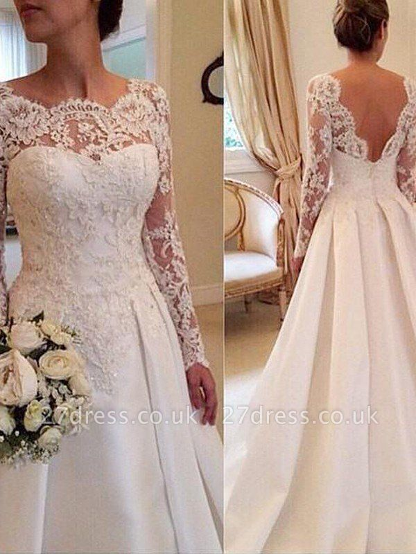 Long Sleeves Scoop Neckline Ball Gown Satin Lace Court Train Wedding Dresses UK
