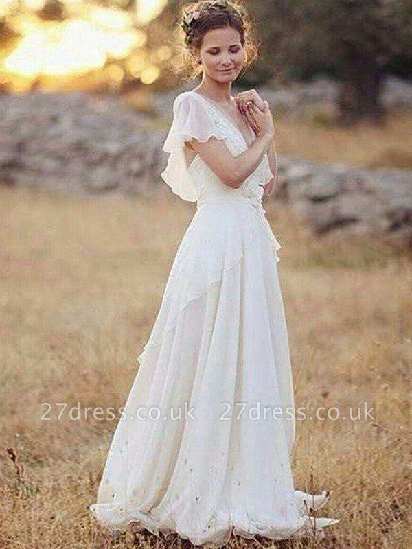 Ruched Floor-Length A-Line V-neck  Short Sleeves Wedding Dresses UK