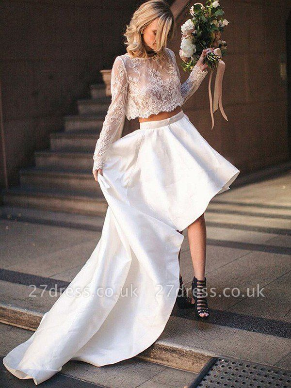 Two Piece A-Line Satin Long Sleeves Lace Scoop Neckline Sweep Train Wedding Dresses UK
