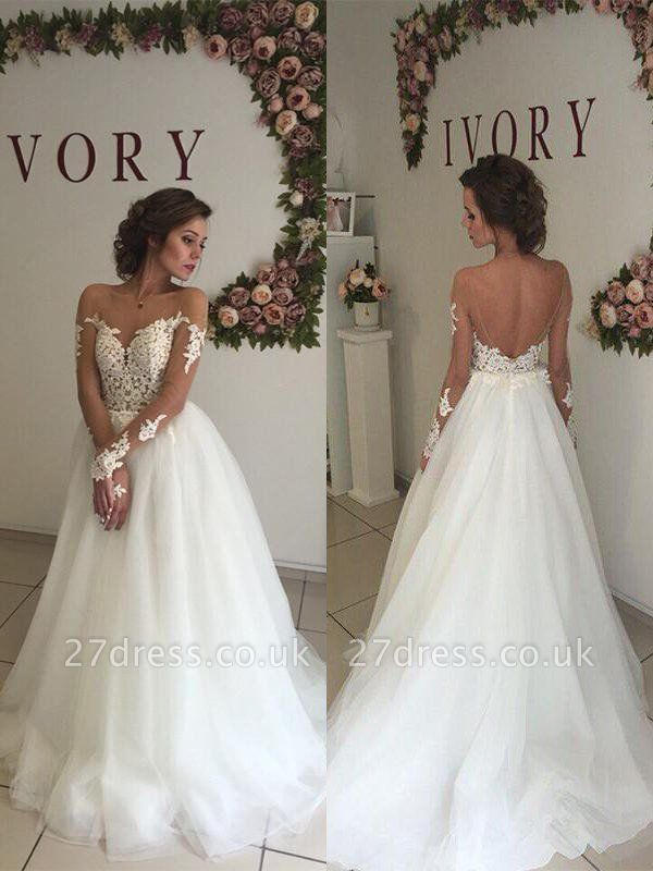 A-Line Off-the-Shoulder Organza Long Sleeves Sweep Train Wedding Dresses UK