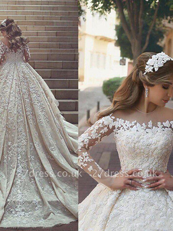 Satin Scoop Neckline Applique Long Sleeves Ball Gown Wedding Dresses UK
