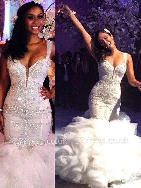 Straps  Sexy Mermaid Sweep Train Sleeveless Organza Wedding Dresses UK