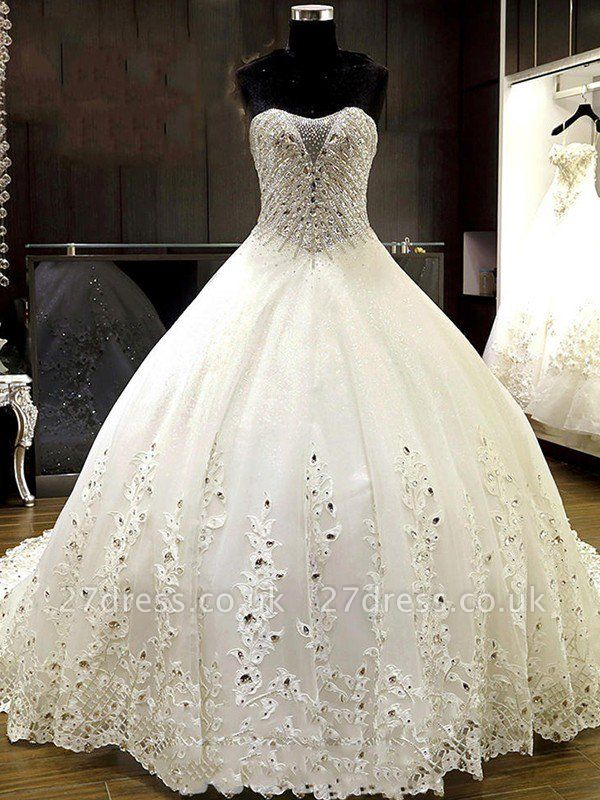 Cathedral Train Tulle Cheap Ball Gown Rhinestone Sweetheart Sleeveless Wedding Dresses UK