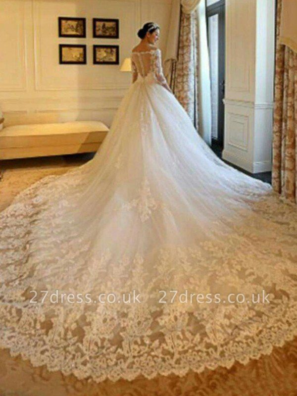 Tulle Ball Gown 3/4 Sleeves Beads Applique Cathedral Train Off-the-Shoulder Wedding Dresses UK