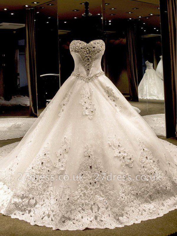 Sleeveless Applique Sequin Sweetheart Ball Gown Cathedral Train Tulle Wedding Dresses UK
