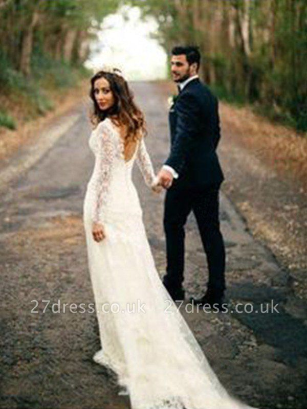 V-neck Sheath Court Train Applique Lace Long Sleeves Wedding Dresses UK