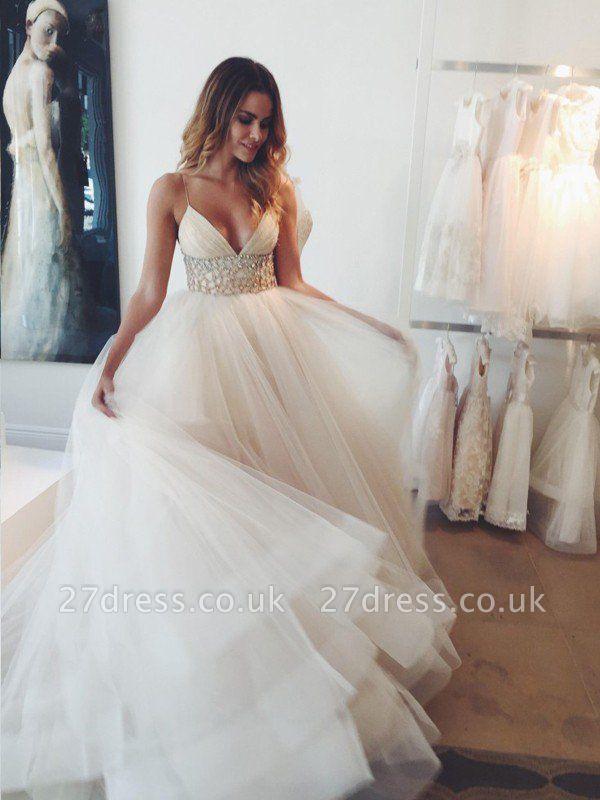 Ball Gown Crystal Spaghetti Straps Sleeveless Court Train Tulle Cheap Wedding Dresses UK