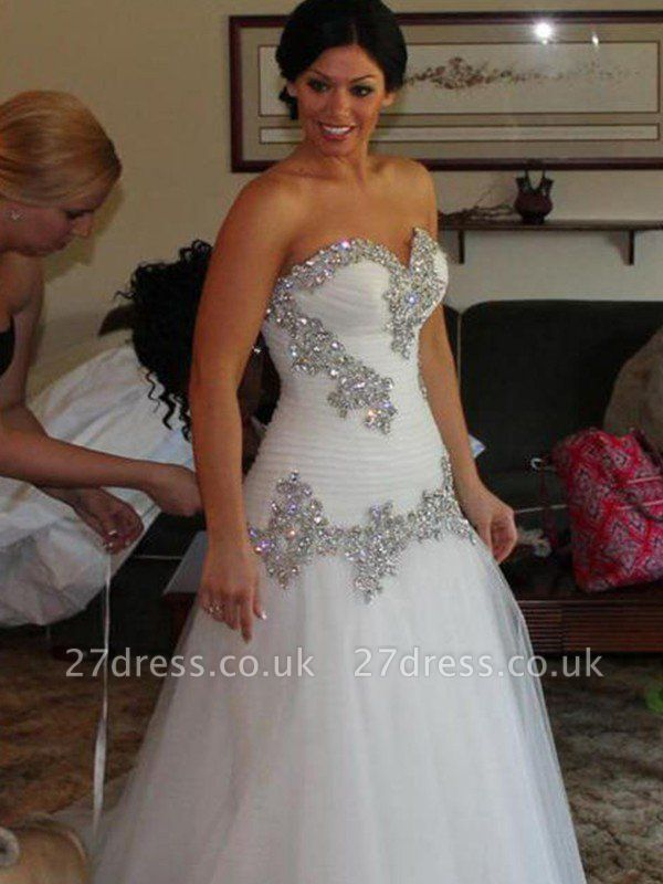 Tulle Cheap A-Line Sweetheart Floor-Length Rhinestone Sleeveless Wedding Dresses UK