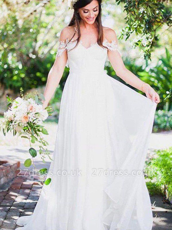 Sweep Train A-Line  Sleeveless Applique Lace Off-the-Shoulder Wedding Dresses UK