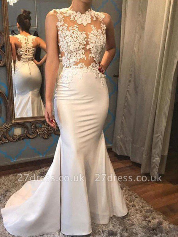 Satin Sexy Mermaid Scoop Neckline Sleeveless Applique Court Train Wedding Dresses UK