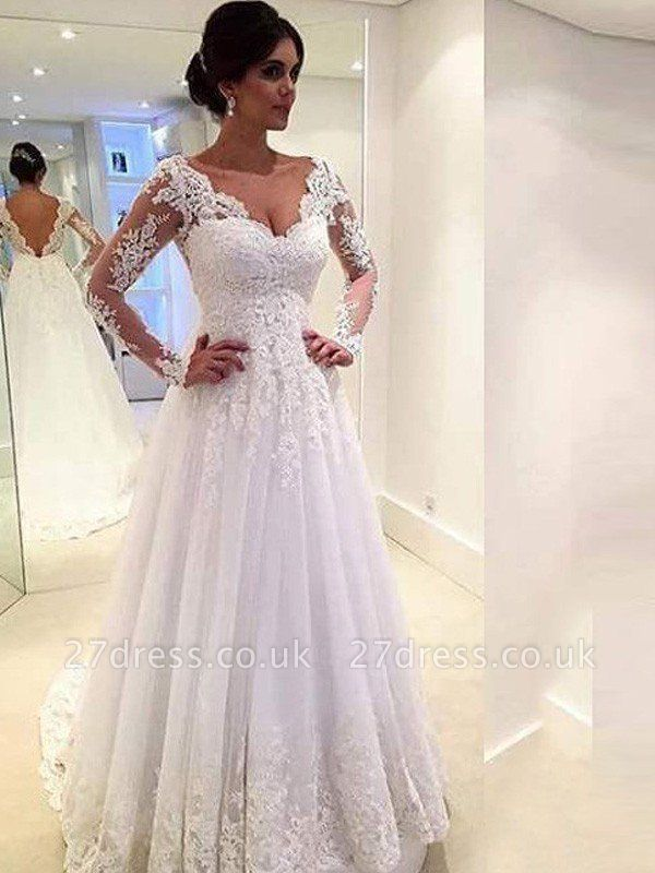 V-neck Ball Gown Tulle Cheap Lace Long Sleeves Court Train Wedding Dresses UK