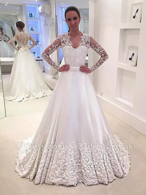 V-Neck Satin A-Line Sweep Train Long Sleeves Wedding Dresses UK