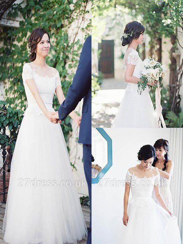 Short Sleeves Sweep Train A-Line Tulle Bateau Wedding Dresses UK