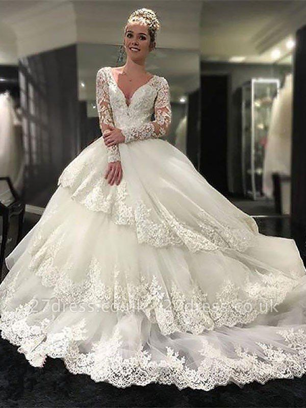 Lace Tulle Court Train Ball Gown Long Sleeves  V-Neck Wedding Dresses UK