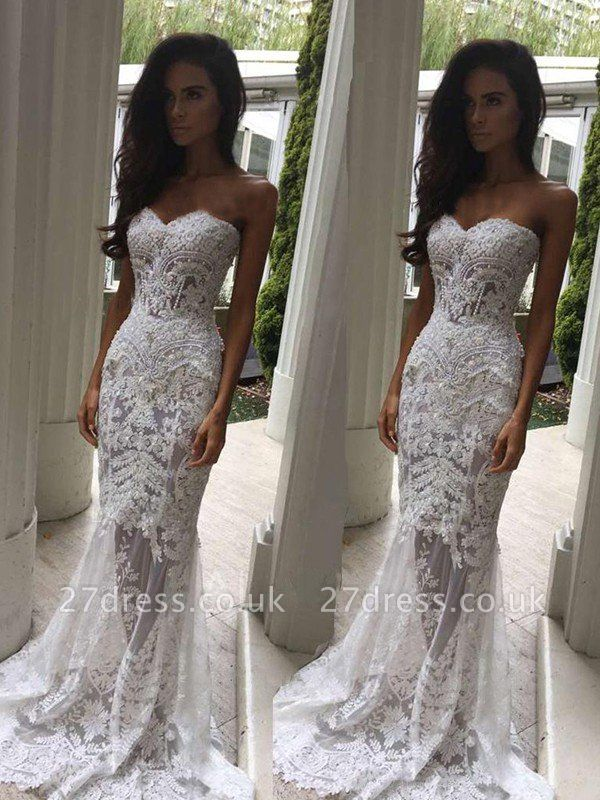Sweetheart  Sexy Mermaid Sleeveless Lace Court Train Applique Wedding Dresses UK