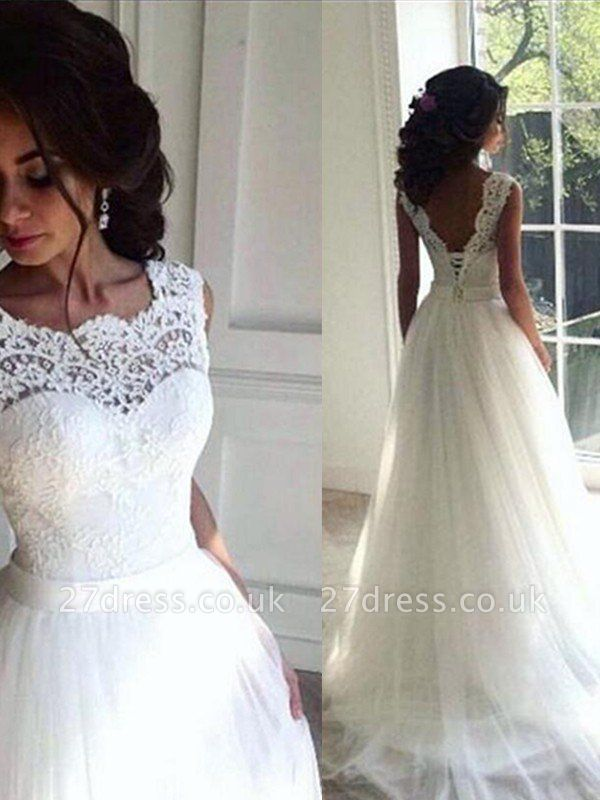 Sleeveless A-Line Ribbon Lace Tulle Sweep Train Bateau Wedding Dresses UK