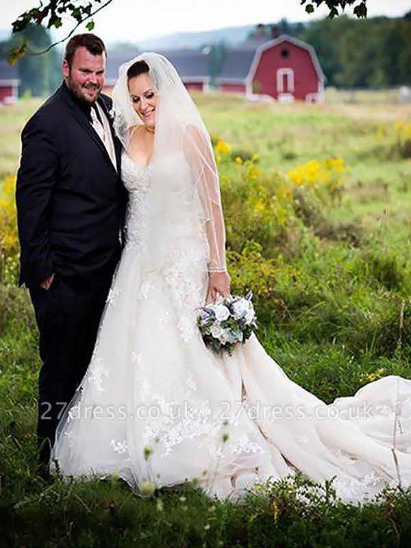 Court Train Sleeveless A-Line Tulle Spaghetti Straps Wedding Dresses UK