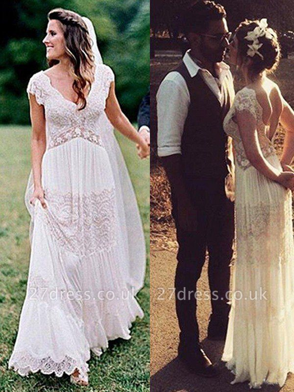 Floor-Length A-Line  V-Neck Lace Short Sleeves Ruched Wedding Dresses UK