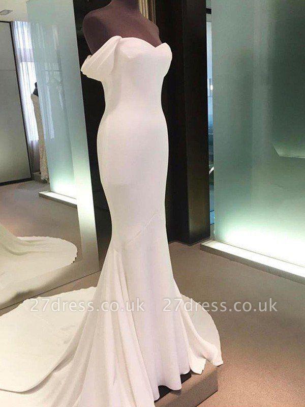 Short Sleeves Satin Sheath Court Train Off-the-Shoulder Wedding Dresses UK